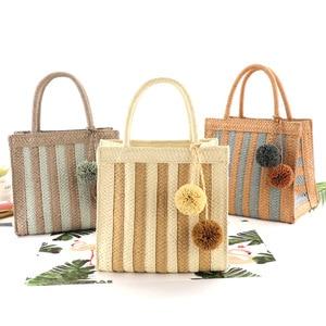 New Ins Paper Debate Hanging Ball Straw Woven Bag Striped Casual Woven Bag Mini Portable Small Bag Beach Bag Female Bag
