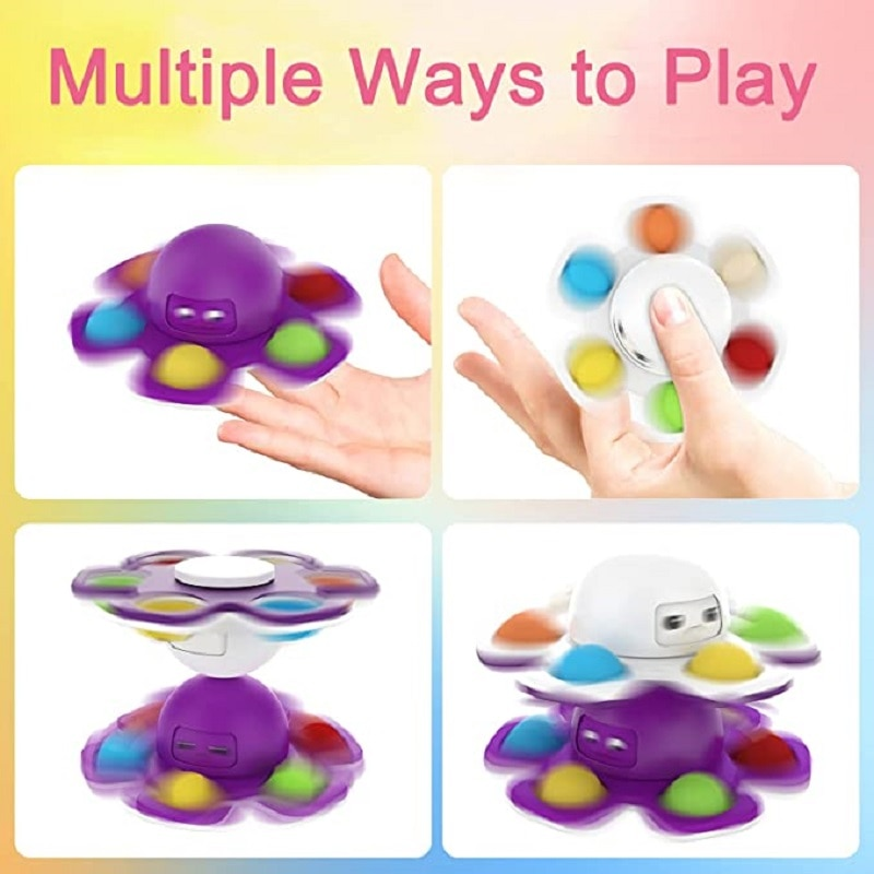 Fidget Double-sided Face-changing Toy Anti-stress Squeeze Bubble Popular Toy Child Anxiety Autism Finger Rotating Toy Keychain