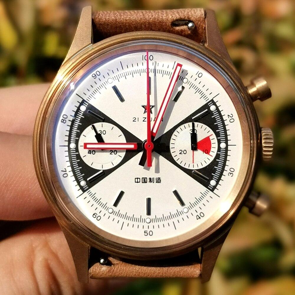 1963 الباندا كرونوغراف البرونزية ساعات الرجال الطيار St1901 الميكانيكية ساعات المعصم خمر سلاح الجو ساعة 40 مللي متر الياقوت الجلود جديد