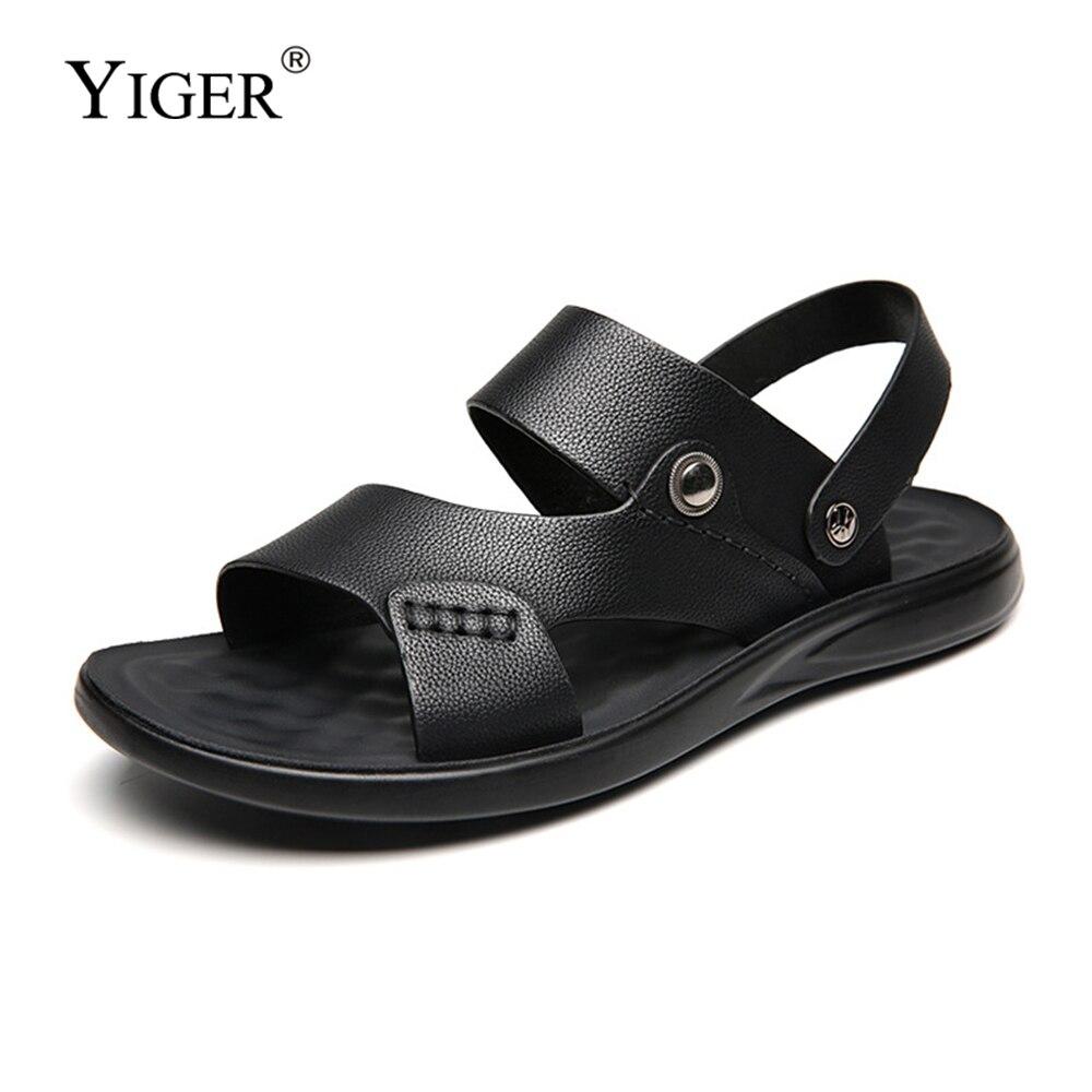 YIGER/мужские сандалии; Шлепанцы; Летняя классная обувь; Повседневные сандалии из латекса; Новый стиль; Пляжная обувь; Мужская кожаная обувь на...