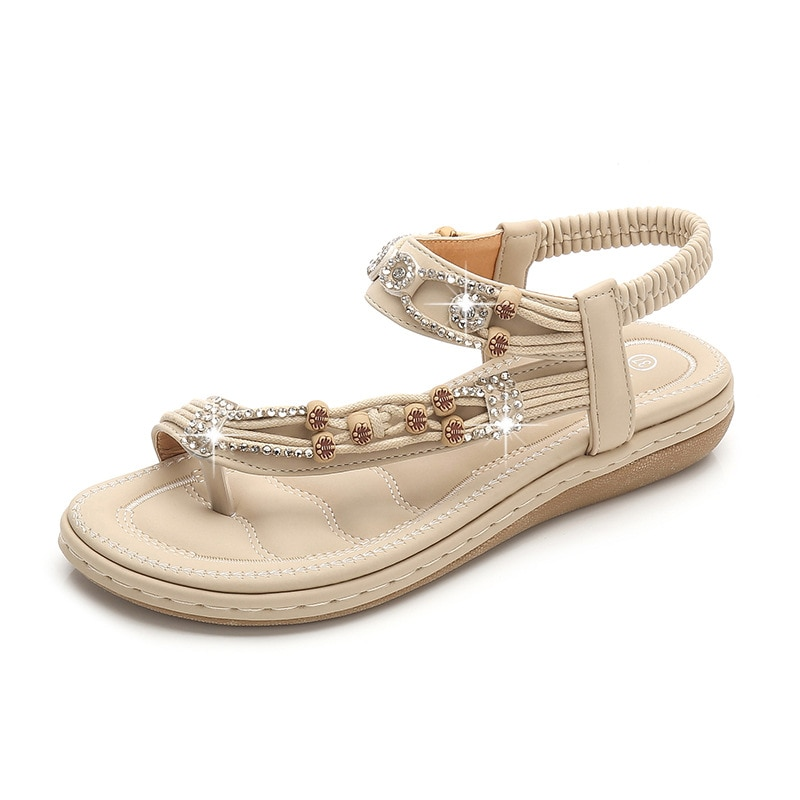 2021Summer Women Fashion Flip Flop  Crystal Bead Flat Slipper Wedges Sandals Casual Sexy High Quality Outsid Ladies Shoes