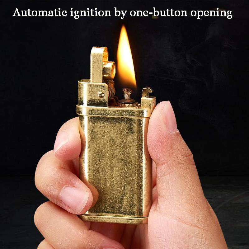 Encendedor de vela de cobre, mechero de gasolina de queroseno Vintage, proveedores de triangulación de gasolina, Gadgets para hombres, aparatos militares