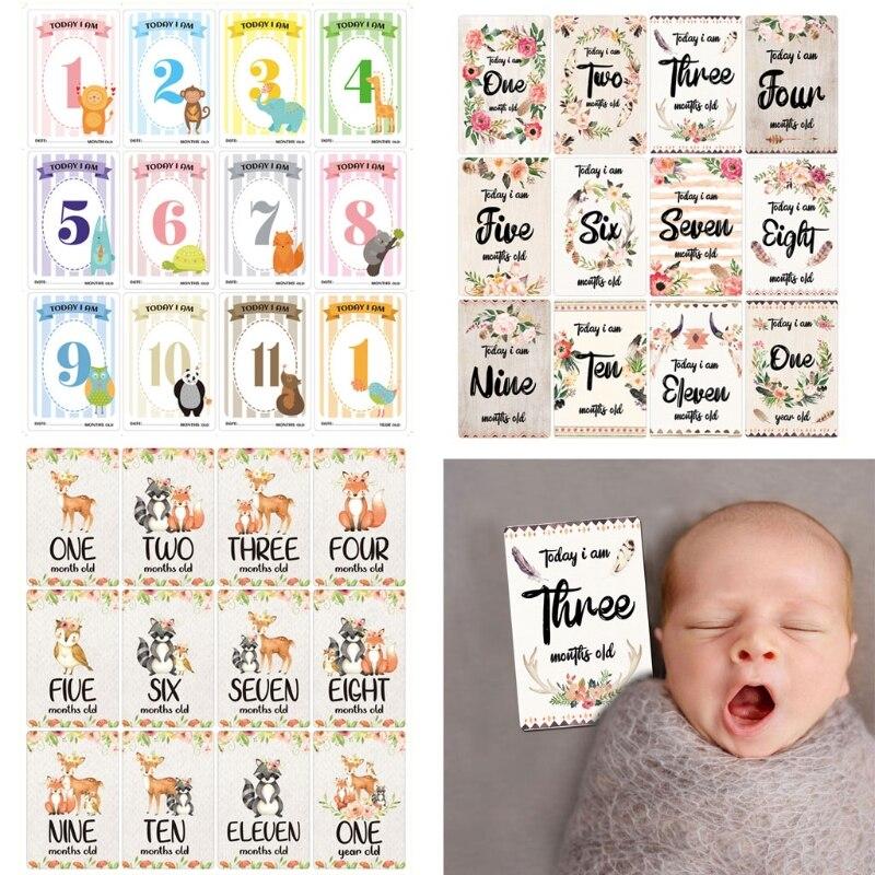 12 листов Детские ежемесячно Milestone карты рождения до 12 месяцев фото в настоящий момент карты одежда для девочек и мальчиков Фото Память Landmark