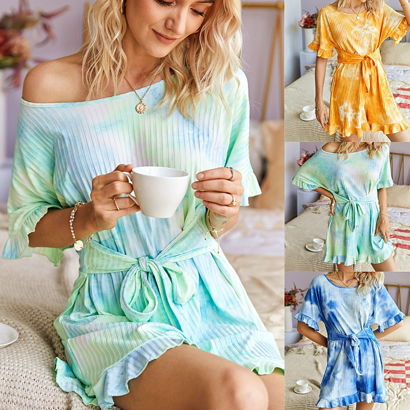 Women Summer Ruffled Short-sleeved Knitted Lace-up Jumpsuit Tie-dye Printed Round Neck Loose Casual Plus Size Straight Jumpsuit
