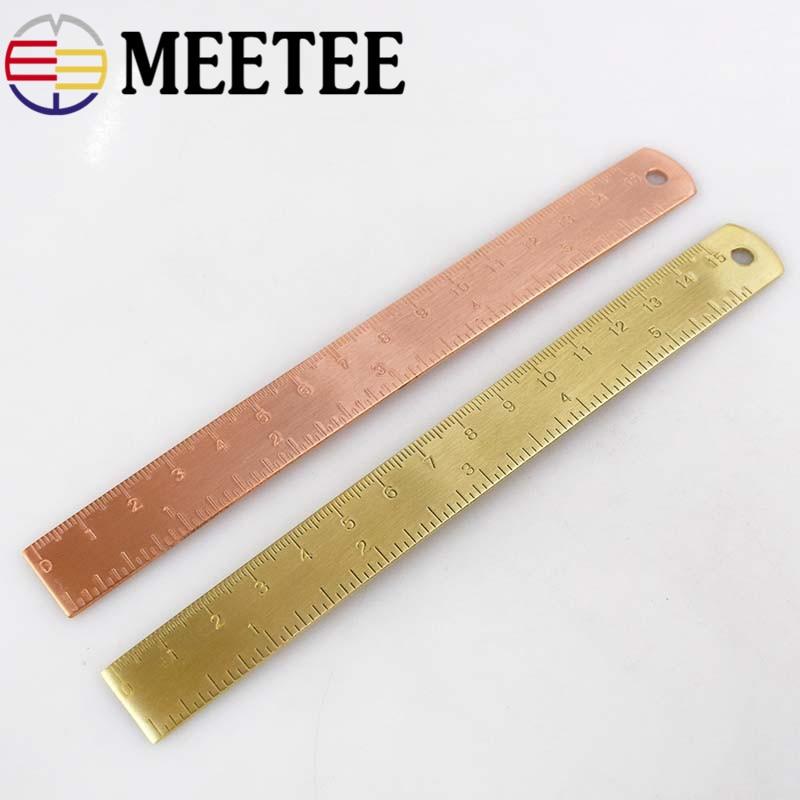 Regla Manual de cobre Meetee 1 ud. 15cm, utensilio para manualidades, hebilla DIY, Mini regla Retro de latón puro, pintura de pequeñas marcapáginas regla BD044