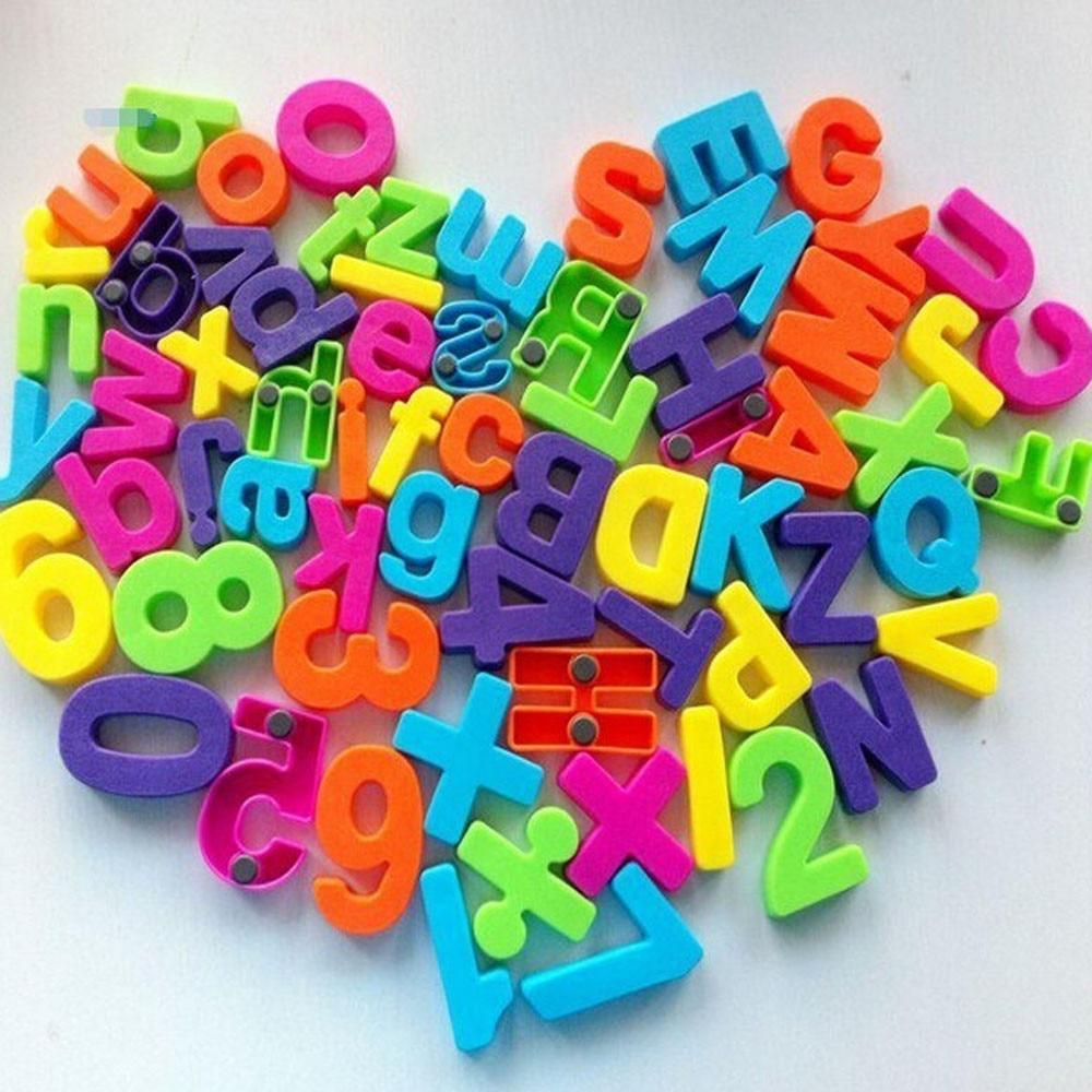 Juego de imanes de regalo juego de alfabeto de enseñanza de 26 letras magnéticas coloridas del refrigerador y números educación aprender lindo juguete del bebé chico L * 5