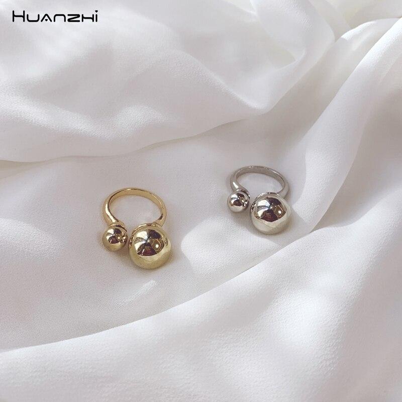 HUANZHI 2019 anillo de bola de tamaño dorado con apertura geométrica ajustable y brillante, anillos esféricos de Metal para mujeres y hombres