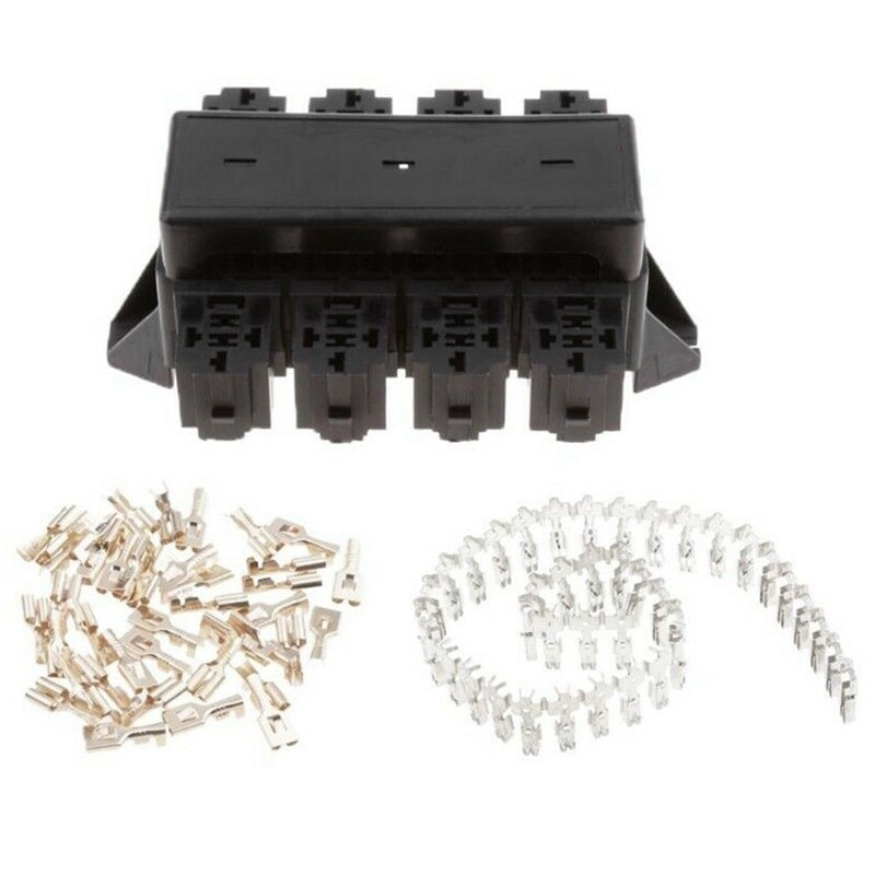 New Black Car 20-Way Blade Fuse Holder 8-Way Relay Socket Fusebox Distribution Block Circuit Breaker Automotive Relay Fuse Holde