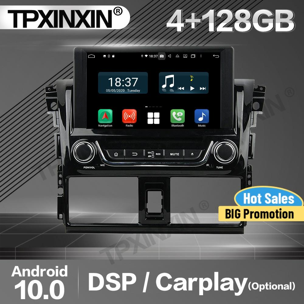 Get 128G Apple Carplay Car Radio 2 Din Stereo Receiver Android For Toyota Yaris 2013 2014 2015 GPS Navigation Player Audio Head Unit