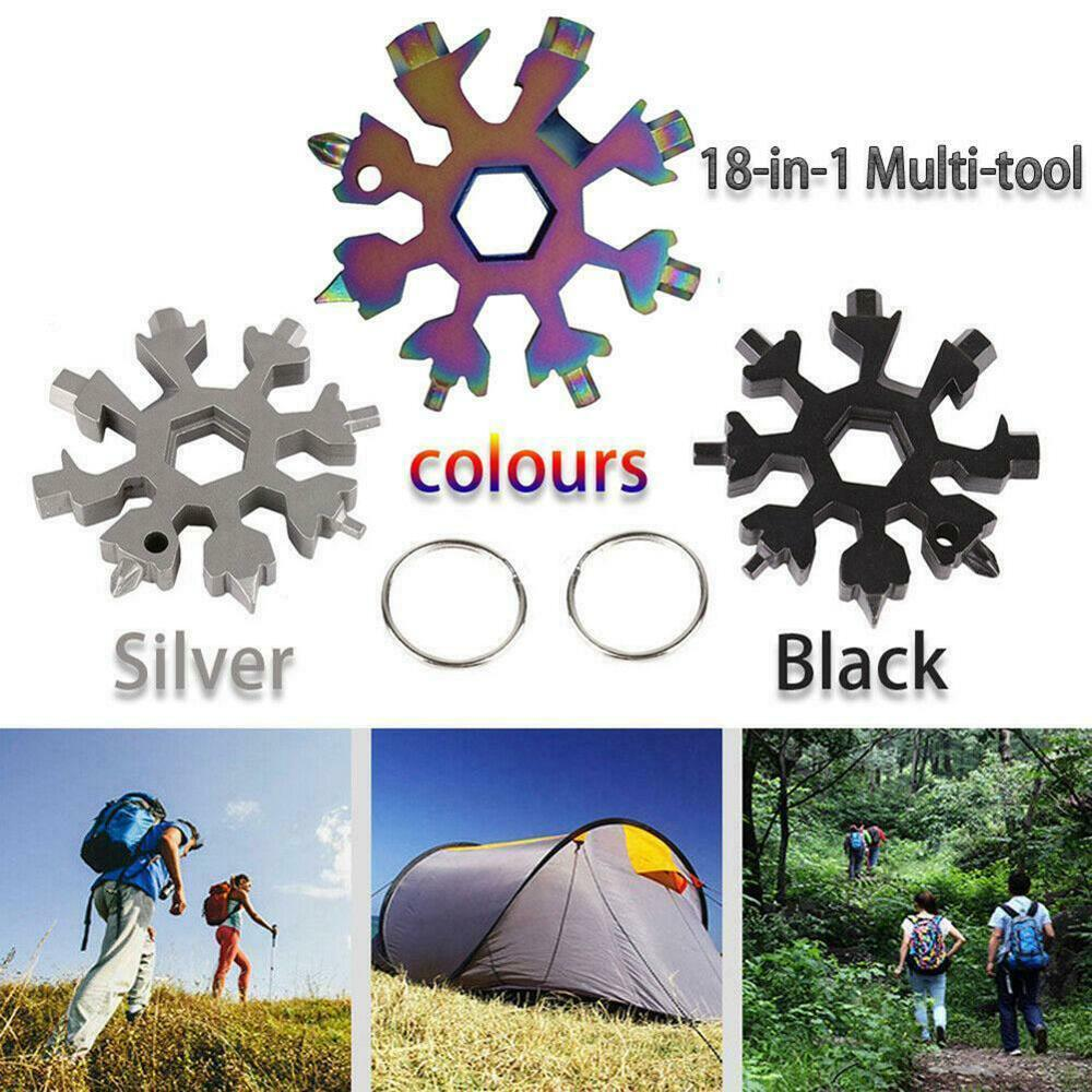 Wrench Multifunction Camping Outdoor Survive Tools Bottle Opener Screwdriver 18 In 1 Snowflake Snow Wrench Tool Spanner Hex 1pc multifunction faucet sink installer wrench extra long wrench anti slip handle spanner installer tools