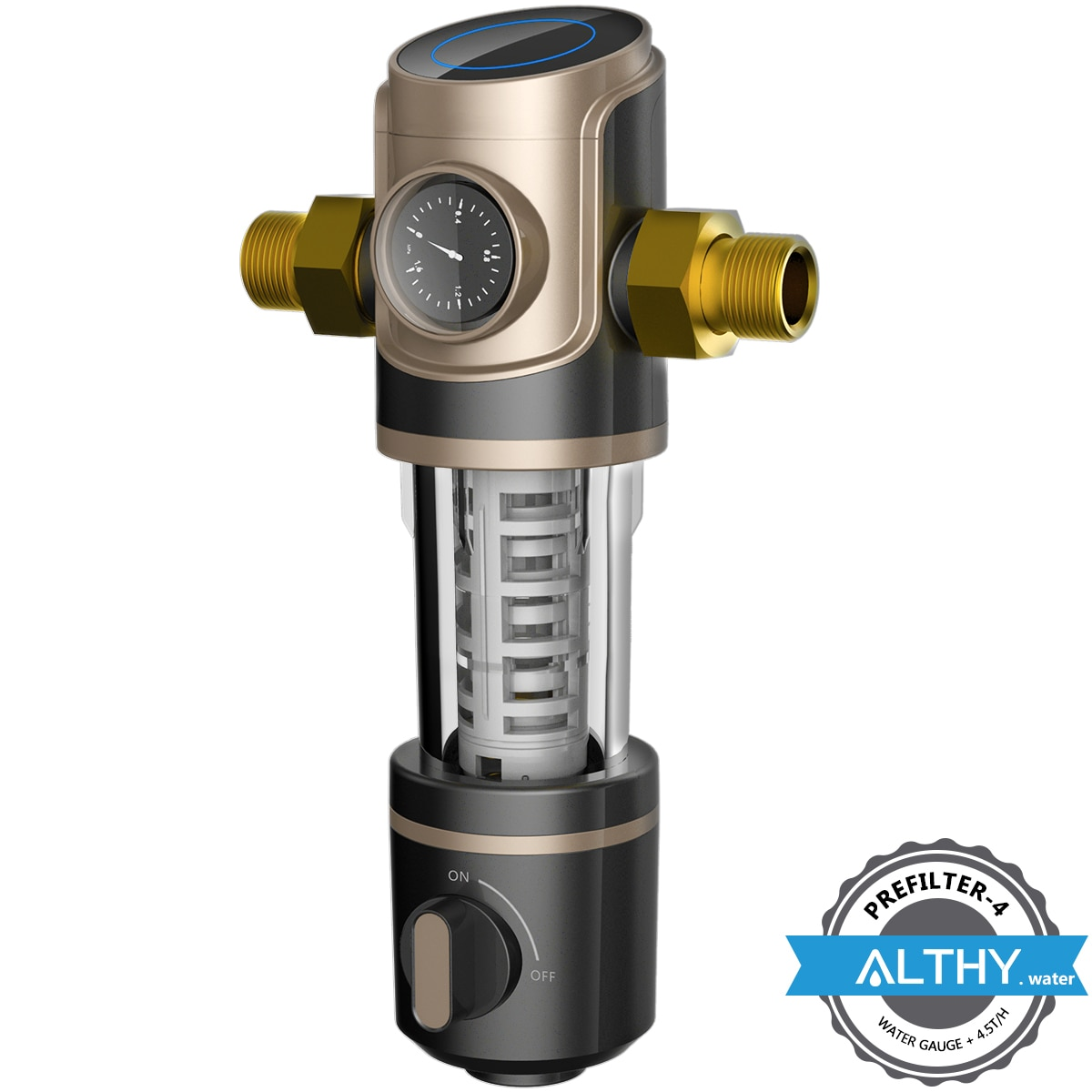 ALTHY Prefilter Central Whole House Pre filter Water Filter Purifier Siphon backwash 4.5T/h large flow + water Pressure Gauge