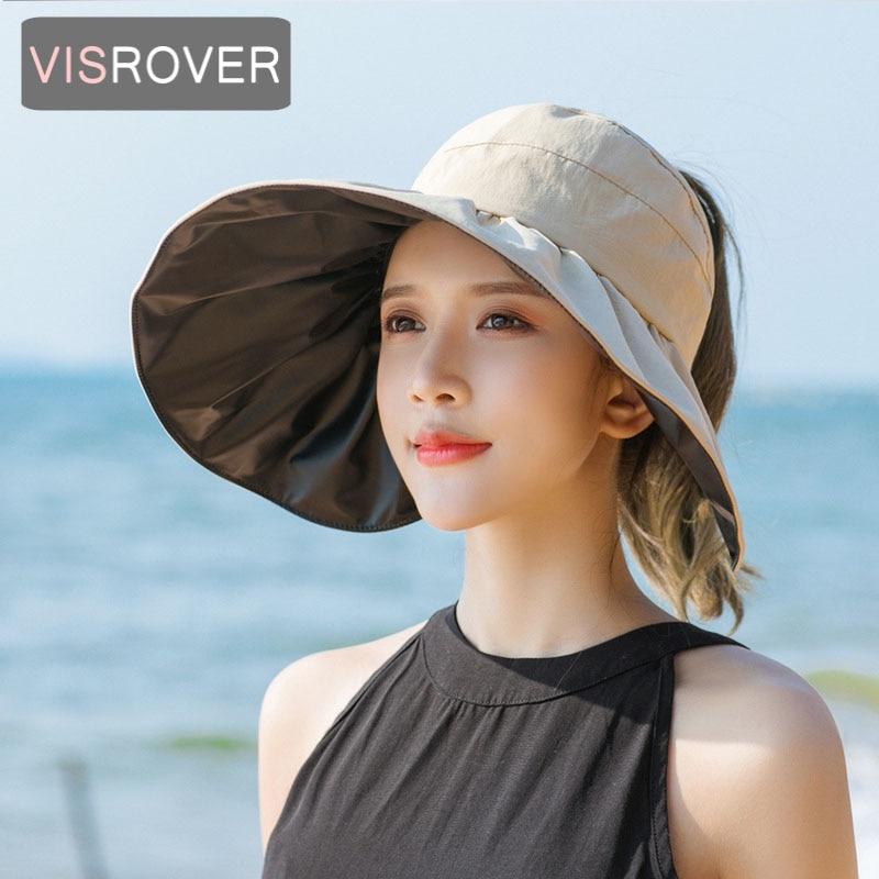 VISROVER 8 color Summer Women Empty Top Sun Hat Cap Foldable Beach Big Trim Hat Visor Fashion Holiday Sunscreen Bonnet Hats Gift
