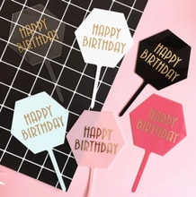 Happy Birthday Cake Topper Black White Transparent Acrylic Birthday Party Dessert Decoration For Baby shower Baking Supplies
