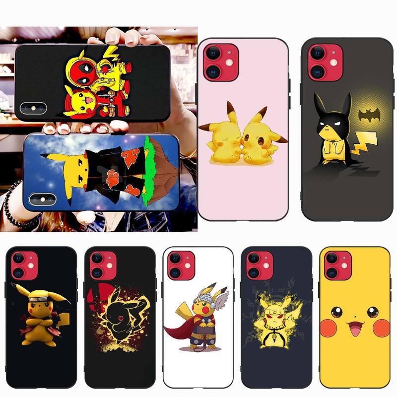 PENGHUWAN Pokemons bola pikachu negro Funda de teléfono de tpu blanda cubierta para iPhone 11 pro XS MAX 8 7 6 6S Plus X 5S SE XR caso