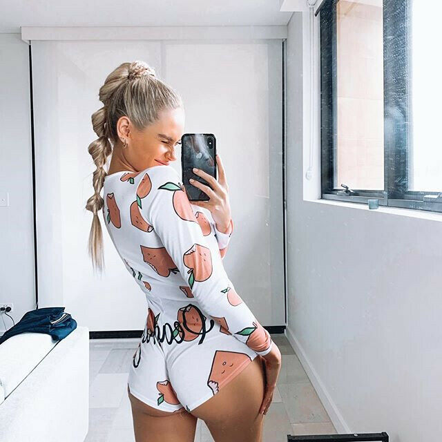 Women V Neck Printed Button Stretch Leotard Deep Bodycon Sexy Long Sleeve Bodysuit  Jumpsuit Romper  Pajamas Overalls for women 4