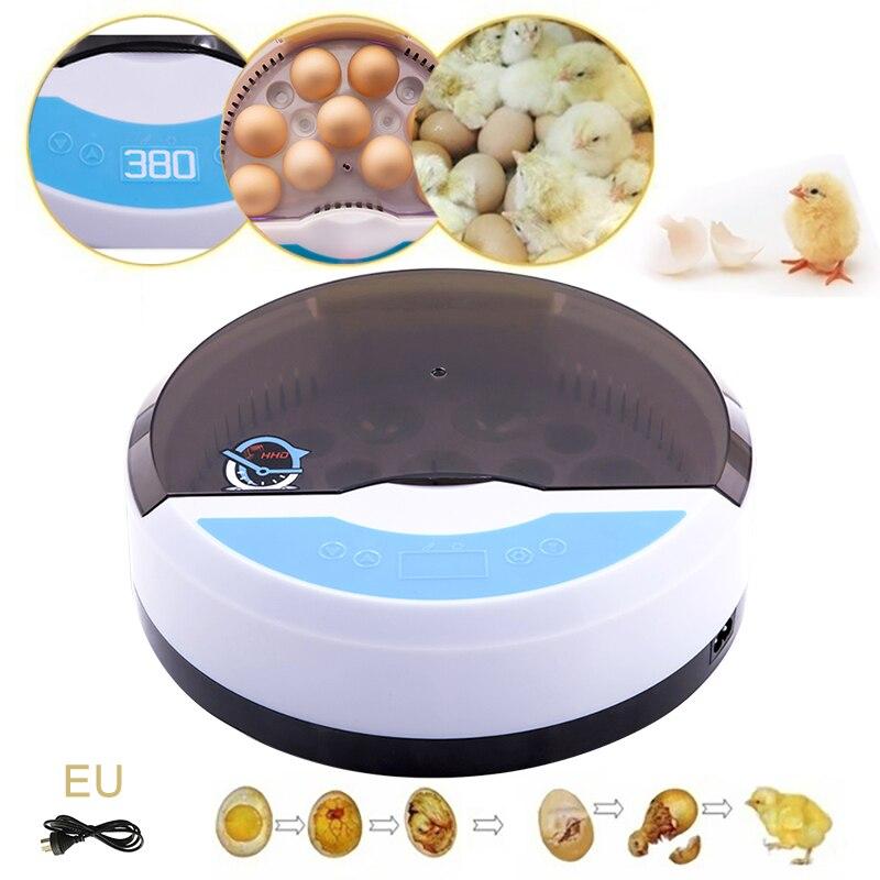 Инкубатор для 9 яиц, автоматический Брудер со светодиодсветодиодный лампой для уток, кур, перепелов, вилка EU/US/AU/UK