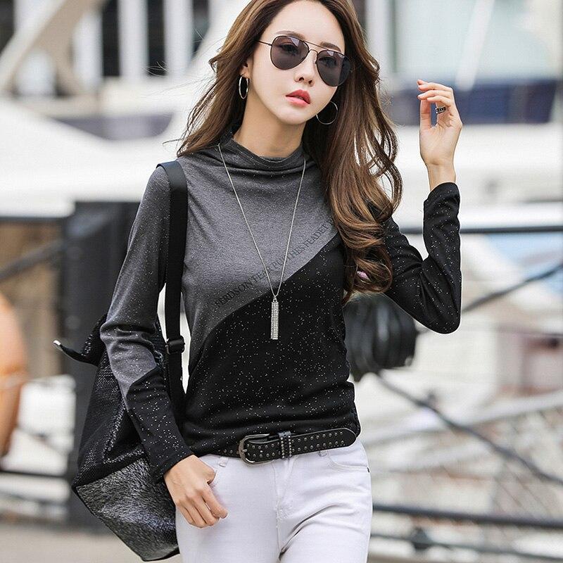 BOBOKATEER oversized t shirt femme long sleeve t-shirt women clothes poleras mujer de moda 2020 half turtleneck tshirt women top