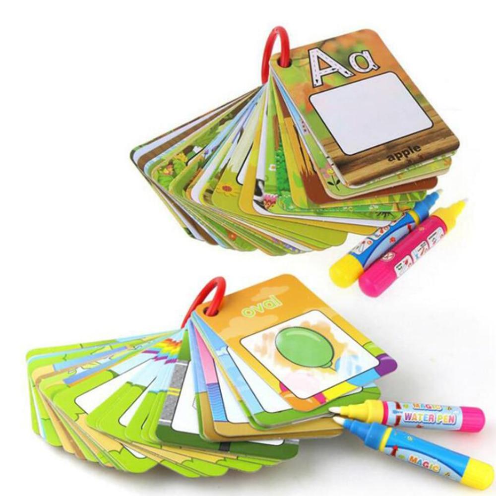 Agua mágica tarjetas para dibujar números 3D Tarjeta de Graffiti geométrica pintura libros para colorear para niños juguetes educativos para edades tempranas