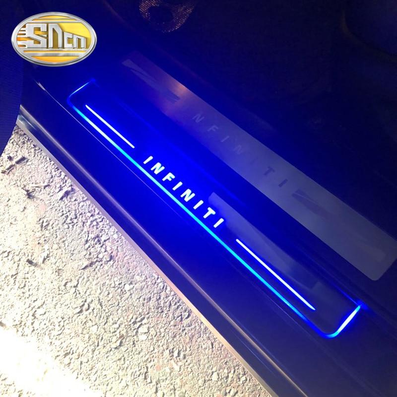 SNCN 4 piezas de alféizar de puerta LED para coche Infiniti G25 G35 G37 2010 - 2013 Ultra-Delgado acrílico dinámico LED bienvenida luz desgaste placa Pedal