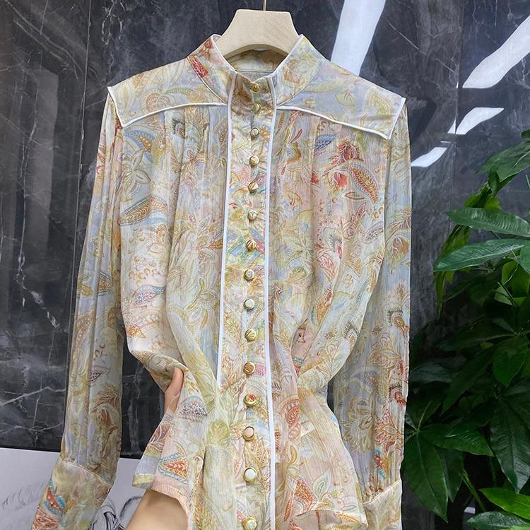 Blouses Female Summer Bag Buckle Silk Shirt Women's Shirt