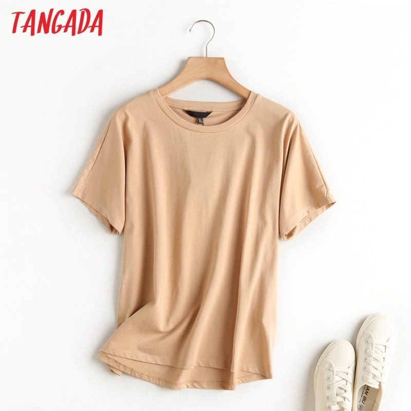 Tangada 2021 women khaki basic cotton T shirt short sleeve O neck tees ladies casual tee shirt street wear top 6D5