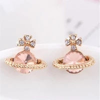 charming earrings fashion korean style jewelry wholesale 2021 planet creative saturn gold earrings high quality crystal womens