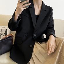 Long Sleeve Oversized Black Blazer Female 2021 Spring Autumn Drape Solid Color Loose Silhouette Suit