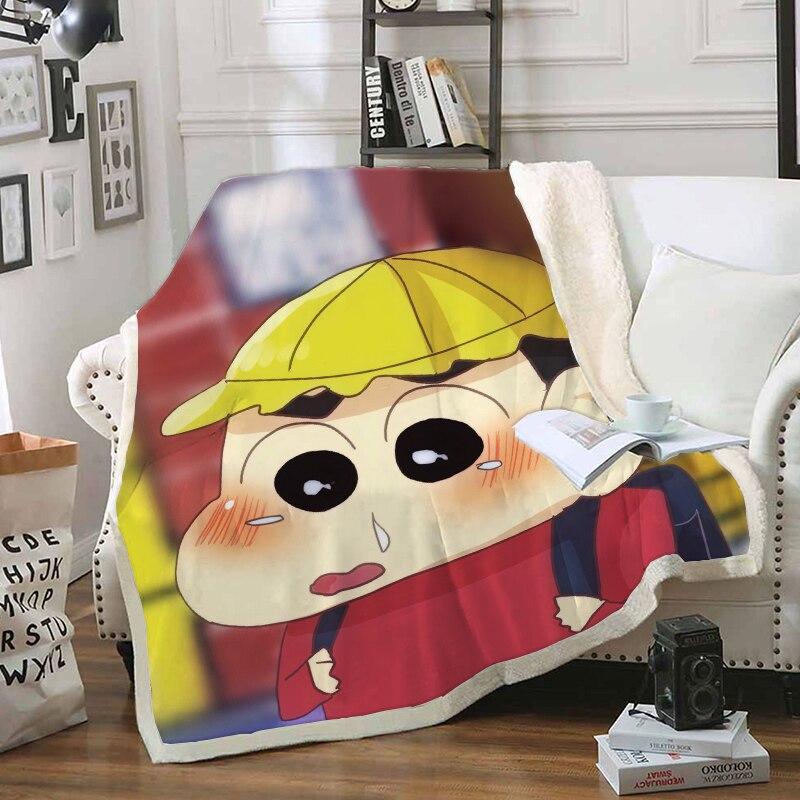 Anime Crayon shin-chan manta de personaje divertido estampado 3D manta de Sherpa en la cama Textiles para el hogar estilo de ensueño 08