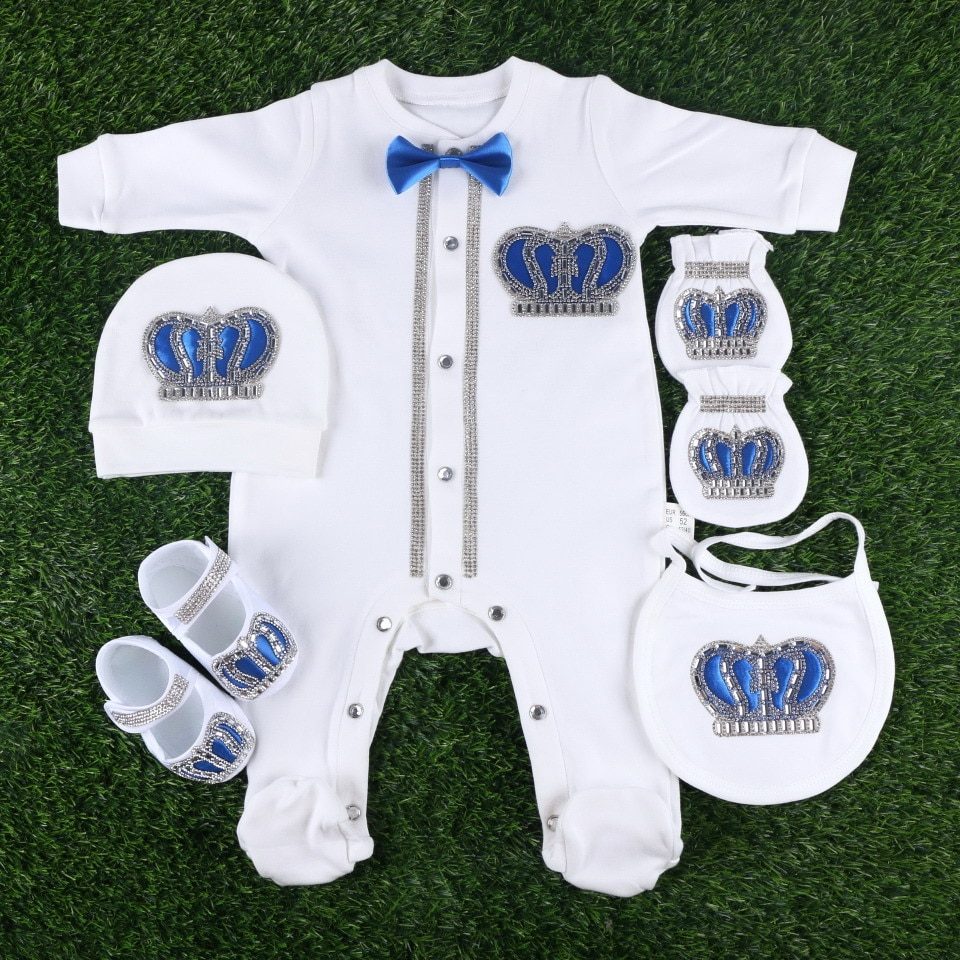 newborn 0-3 months footies set cotton soft handmade crown design crystal baby girl boys rompers clothes