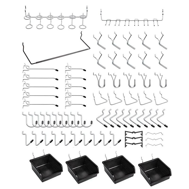 131 قطعة خطاطيف الحوائط المثقوبة مع صناديق Pegboard ، وأقفال ربط ، لتنظيم أدوات مختلفة لملحقات غرفة المطبخ الحرفية