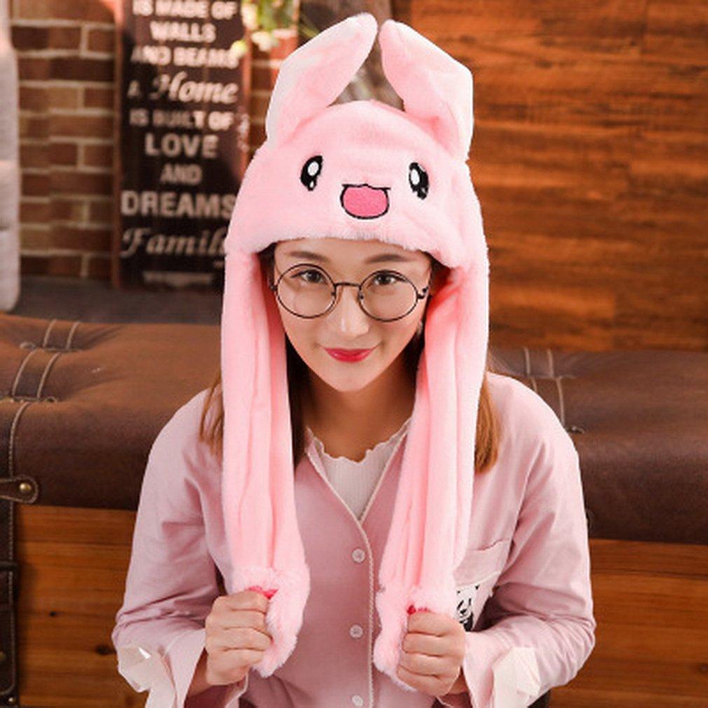 Niños conejo de peluche bonito pellizcar el sombrero del oído del conejito puede mover el sombrero del Airbag del juguete del regalo para los niños niñas novia accesorios de las mujeres
