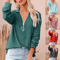 2021 springautumn women blouse casual top ribbing solid color zipper v neck long sleeve lady t shirt for women daily wear