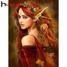 Huacan-Portrait de fée fille avec perles carrées, broderie complète, mosaïque, décoration dintérieur, cadeau