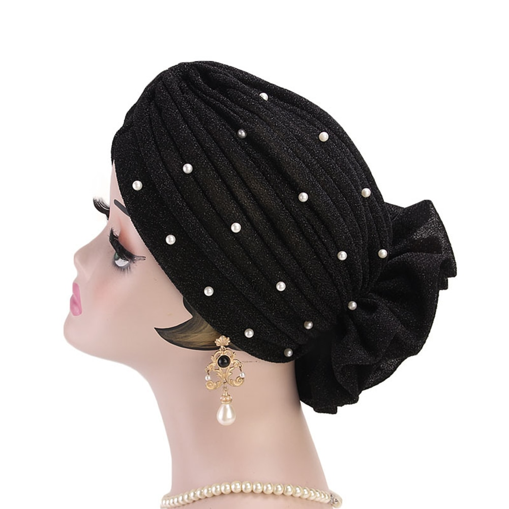 Fashion Faux Pearl Decor Big Flower Women Muslim Hijab Turban Hat Head Wrap Cap