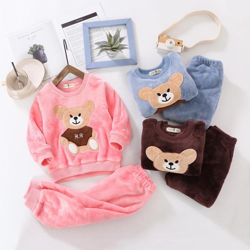 Children Pajamas Sets Autumn Girls Sleep Wear Long Sleeve Flannel Cartoon Winter Homewear 2-12Y Toddler Boys Christmas Pajamas