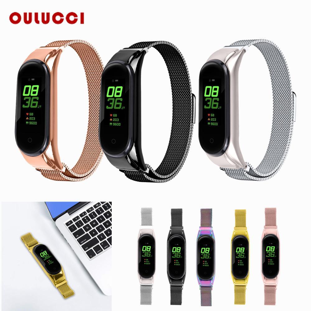 Correa de reloj de acero inoxidable magnética OULUCCI Fashion mi lanese para Xiaomi mi Band 3 Watch Band para Xiaomi mi banda 4