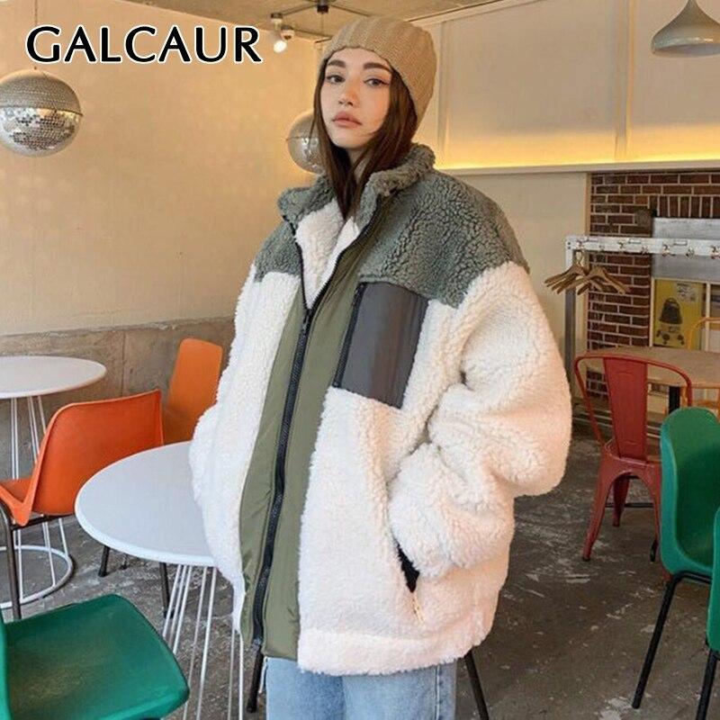 GALCAUR سترة الشتاء الملونة المرقعة للنساء مع طوق وأكمام طويلة معاطف فضفاضة ملابس النساء موضة جديدة 2021