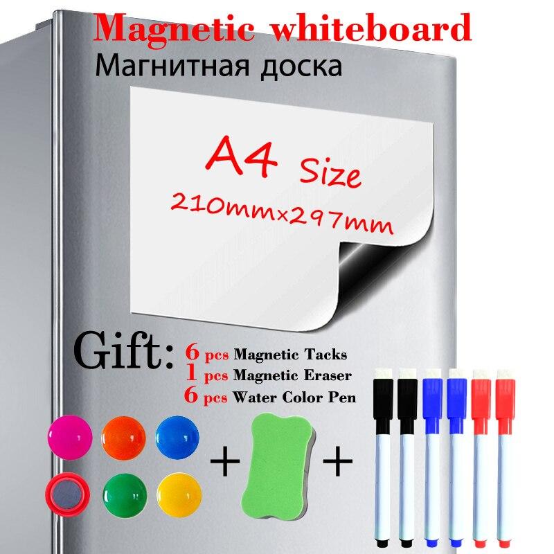 Мягкая магнитная доска размера A4, наклейка на холодильник, магнитная белая доска для сухого стирания, кухонная доска для сообщений, подарок,...