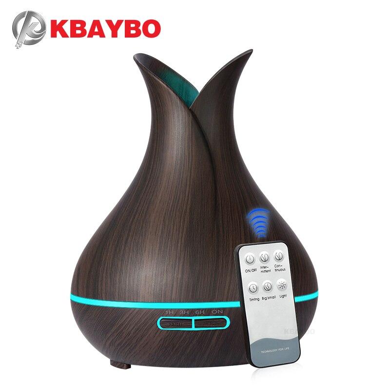 KBAYBO 400 ml eléctrica Aroma de ultrasonidos humidificador de aire difusor de aceite esencial grano de madera fabricante de la niebla purificador LED para el hogar
