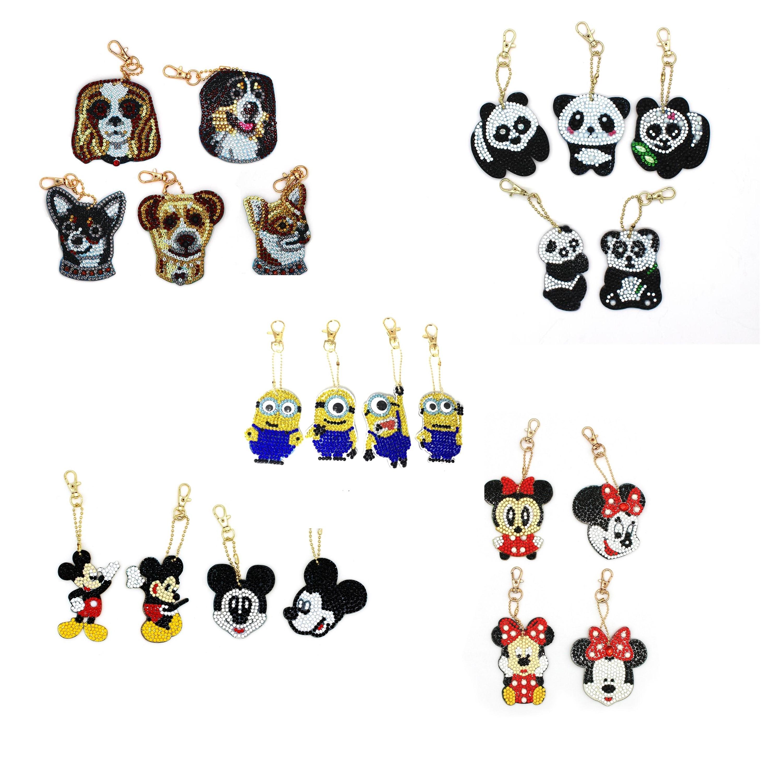 Shirliben diy acessórios de pintura diamante ornamento minnie mickey mouse minions diamante chaveiro panda cão animal diamante mosaico