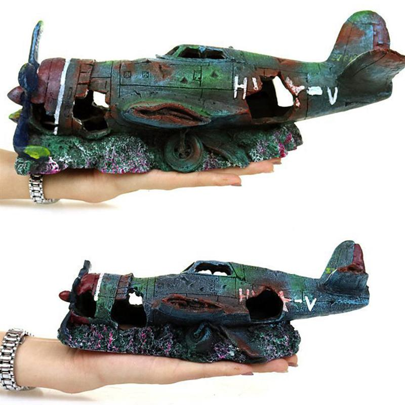 Underwater Mini Wreckage Resin Craft Fish Tank Artificial Plane Wreckage Ornament Aquarium Landscape