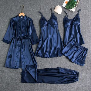 Patchwork Bridal Wedding Nightwear Rayon Sleepwear Female 5PCS Pajamas Set Satin Pyjamas Lace Home Wear Nighty&Robe Suit