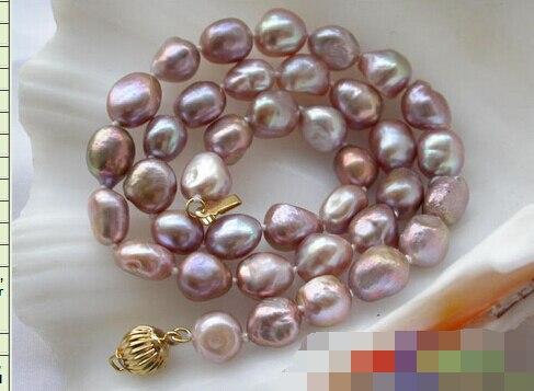 "Envío Gratis 004412 17 ""8-10mm lavanda barroca collar de perlas de agua dulce"