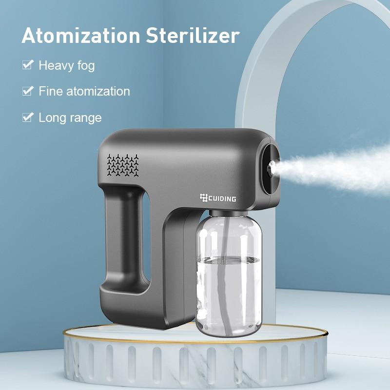 New 380ML Wireless Disinfection Spray Handheld Portable USB Rechargeable Nano Atomizer Home Purple Light Sterilization Spray
