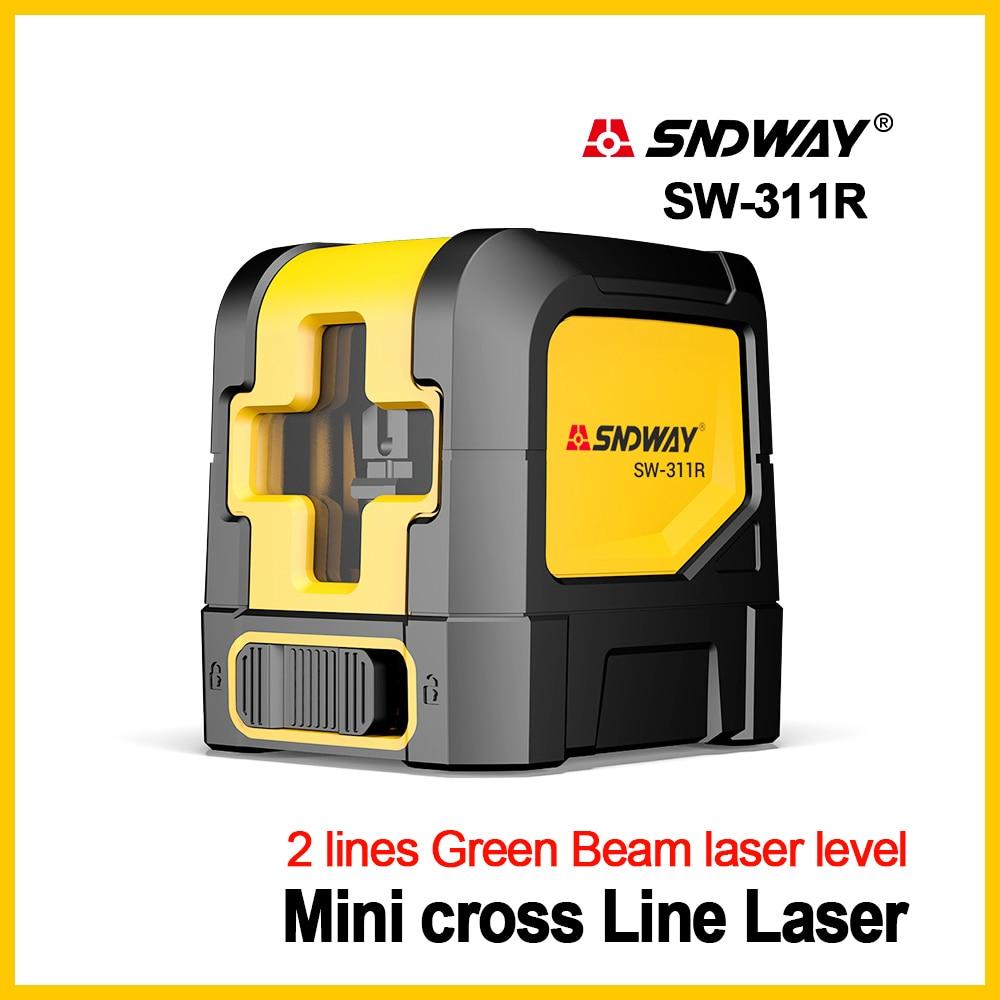 Nuevo nivel láser SNDWAY, nivelador láser de nivel verde, línea roja de Cruz Horizontal auto Vertical, nivelador láser de 2 líneas