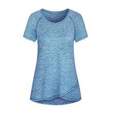 T-shirt à manches courtes et col rond pour Femme, Blanc, respirant, sport, plein air, été