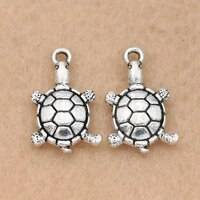 10pcs antique silver plated tortoise charm pendant for jewelry making bracelet necklace accessories diy 18x12mm