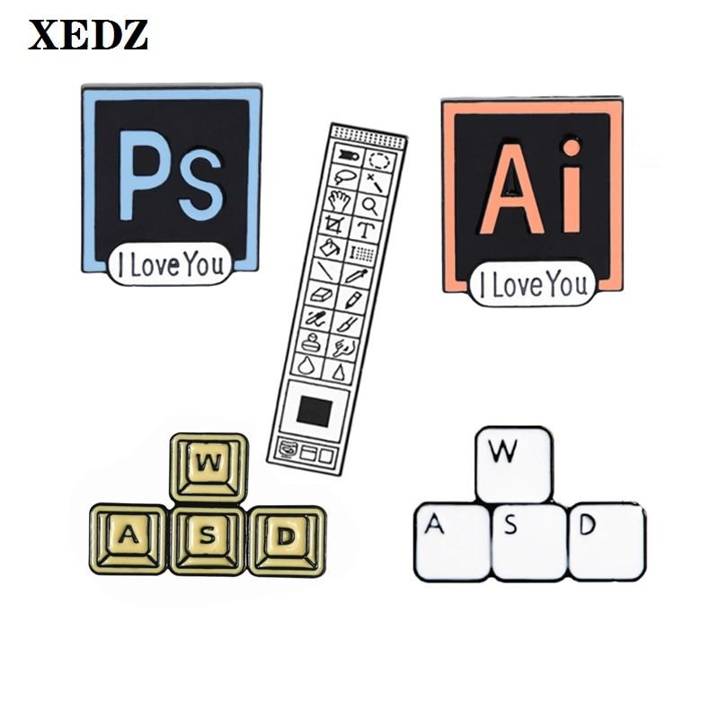 Ferramenta do cursor do computador esmalte pino ps barra de ferramentas teclado wasd seta software entusiasta camisa mochila distintivo jóias broche presente