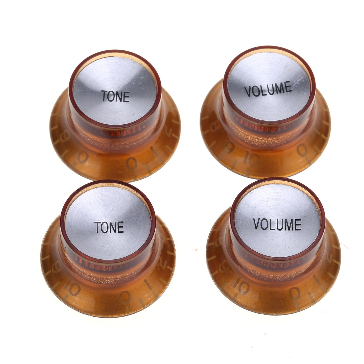 Musiclily Pro Inch Size Guitar Reflector Knobs Top Hat Bell 2 Volume 2 Tone Knobs for USA Made Les Paul SG,Amber with Silver Top