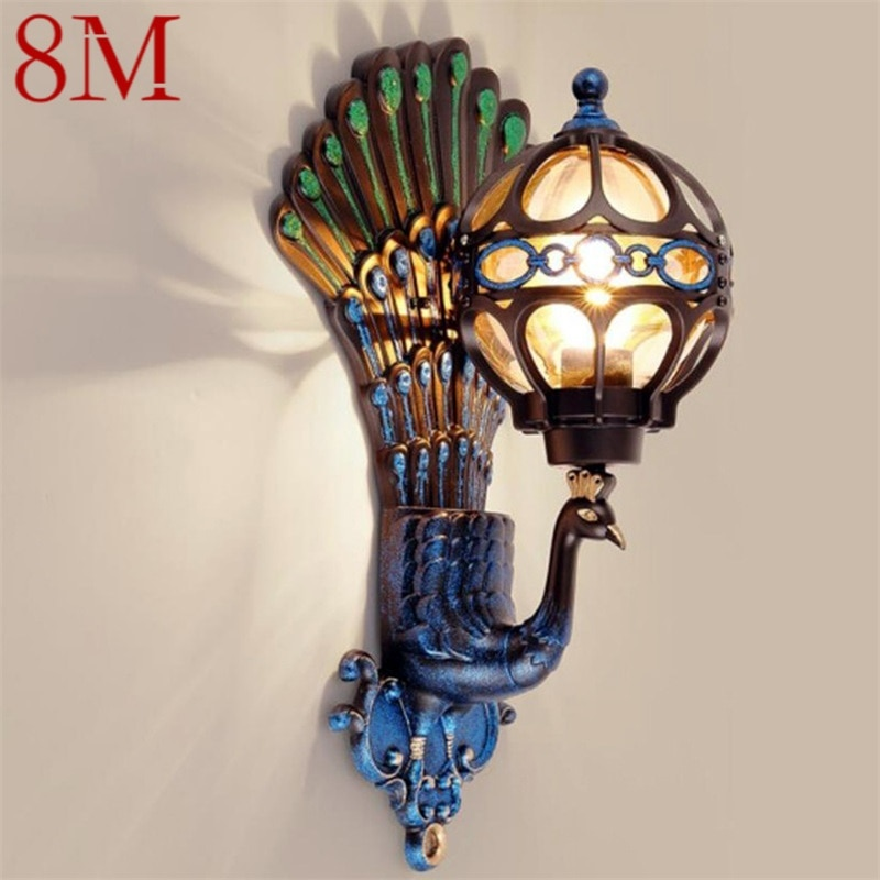 8M Outdoor Wall Sconces Lamp Classical LED Peacock Light Waterproof Home Decorative For Porch